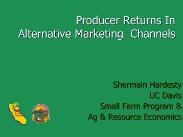 Producer Returns in Alternative Marketing Channels - University of ...