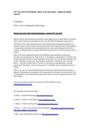 22nd July 2010 STOP PRESS - Music in the City latest - additional ...