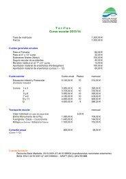 "T a r i f a s Curso escolar 2013/14 - Colegio Alemán ""Juan Hoffmann"""