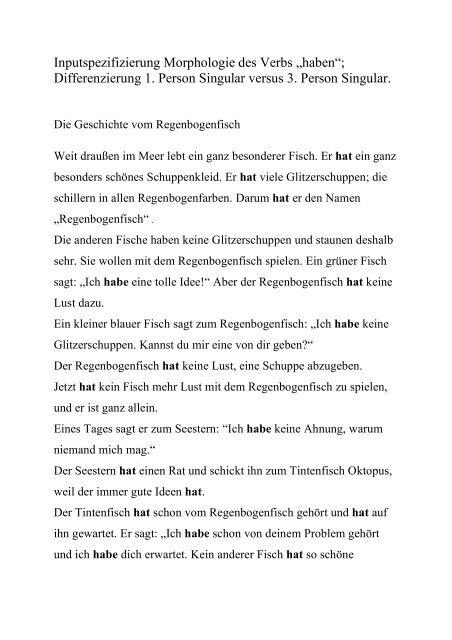 Traurig bin ich und allein regenbogenfisch text
