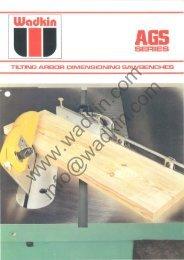 Wadkin AGS 250 300 350 Sawbench Literature