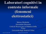 Laboratori cognitivi in contesto informale (fenomeni elettrostatici)