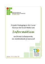 Projeto Pedagógico do Curso. - Ifrn