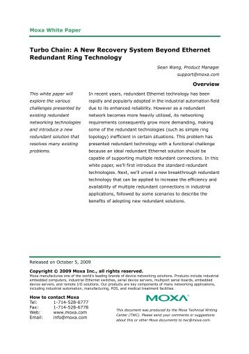 Turbo Chain: A New Recovery System Beyond Ethernet ... - Technolec