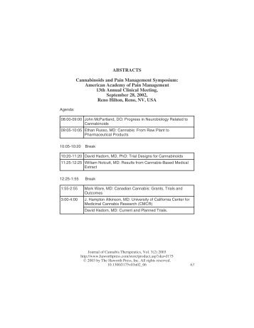 ABSTRACTS Cannabinoids and Pain Management Symposium ...