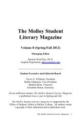The Molloy Student Literary Magazine - Vol. 8 - Molloy College
