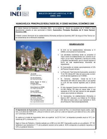 HUANCAVELICA: PRINCIPALES RESULTADOS DEL IV ... - Inei