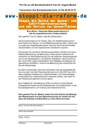 Per Fax an die Bundeskanzlerin Frau Dr. Angela Merkel Faxnummer ...