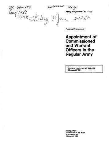 Army Regulation 601-100 - Washington Headquarters Services
