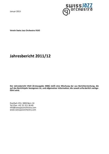Jahresbericht 2011/12 - Swiss Jazz Orchestra