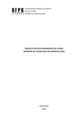 Projeto Político Pedagógico do curso de Agroecologia (PDF)