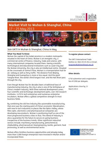 Market Visit to Wuhan & Shanghai, China 17 – 25 May 2013 - NEPIC