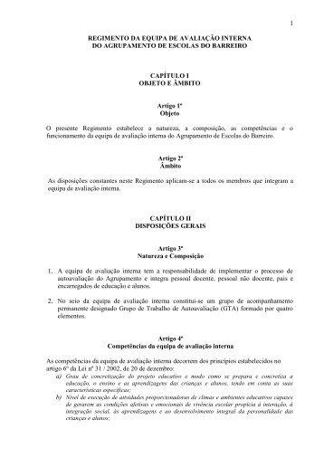 CAPÍTULO I - Agrupamento de Escolas do Barreiro