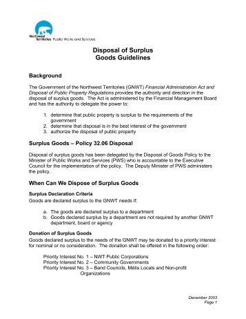 Disposal of Surplus Goods Guidelines - Department of Public Works ...