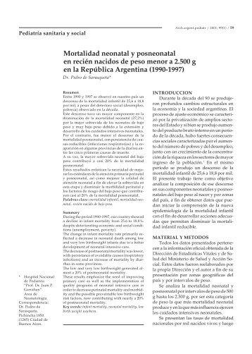 Mortalidad neonatal y posneonatal en recién nacidos de peso ...