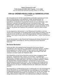 VON der GRÜNEN REVOLUTION zur GENREVOLUTION - OneWorld