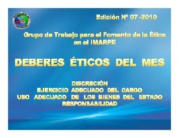 """DEBERES ÉTICOS"" Ed. N°07-2010 - Imarpe"