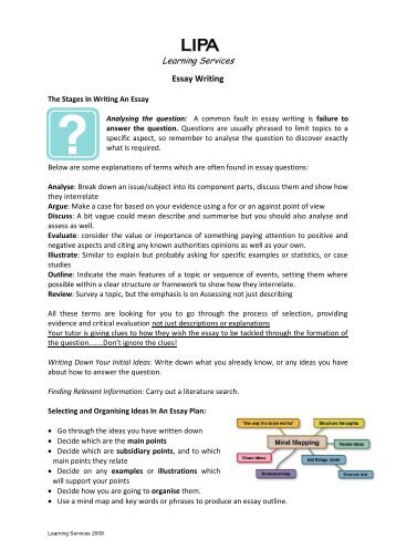 Learning Services Essay Writing