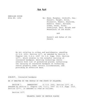 hb1652 enr.pdf - Oklahoma Legislature