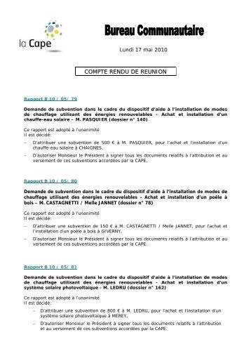 Bureau communautaire - Compte-rendu du lundi 17 mai 2010 - CAPE