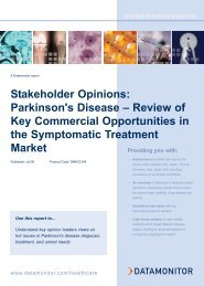 Stakeholder Opinions: Parkinson's Disease – Review ... - Datamonitor