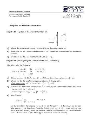Aufgabe 8: Gegeben ist die skizzierte Funktion s(t).