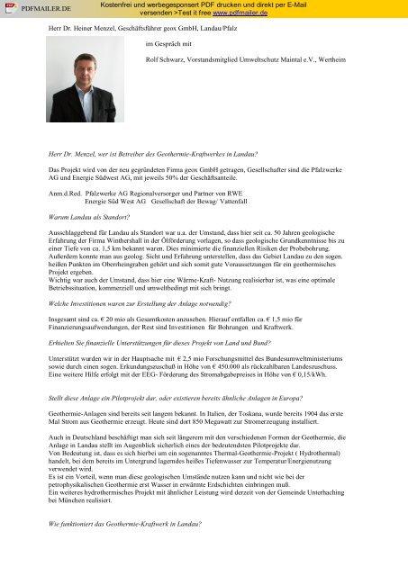 Interview mit Dr. Heiner Menzel, geox GmbH Umweltschutz