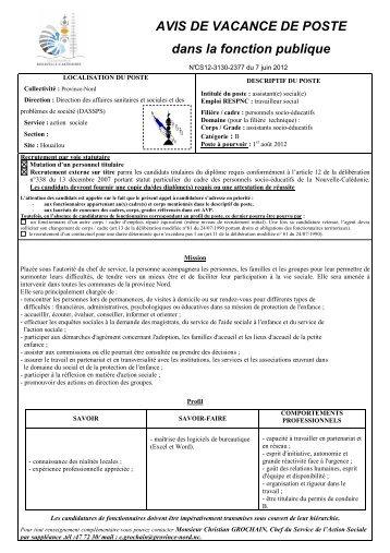 2377 _MS_ PVN DASSPS Assistante sociale ... - Province Nord