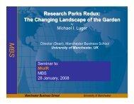 Research Parks Redux - Manchester Business School