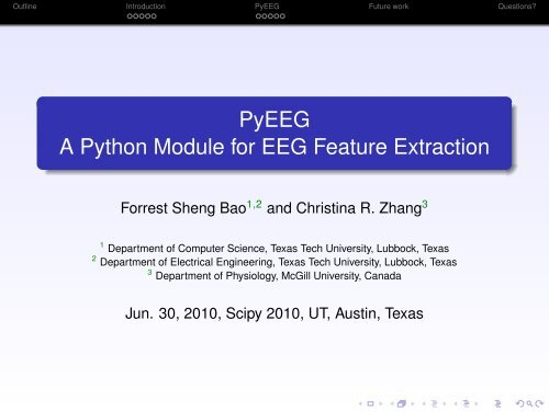 PyEEG A Python Module for EEG Feature Extraction - SciPy