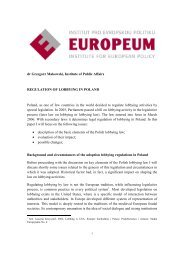 Regulation of lobbying in Poland - EUROPEUM Institute for ...