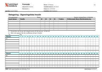 Delegering - Signeringslista Insulin