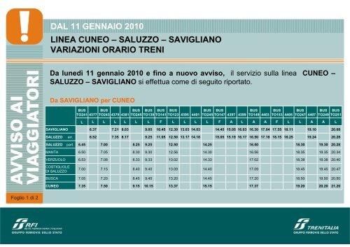 SAVIGLIANO - CUNEO dal 11 gen. 2010 [Sola lettura] - Trenitalia