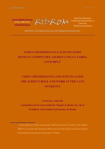codex theodosianus - revista internacional de derecho romano-index