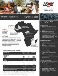 Investor fact sheet September 2010 - AXMIN Inc.