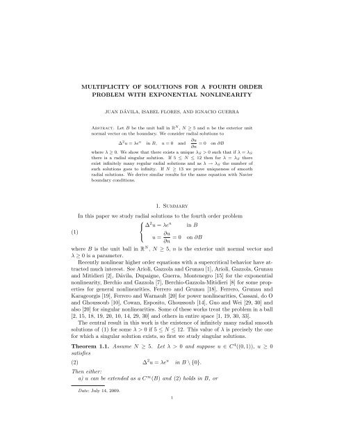 MULTIPLICITY OF SOLUTIONS FOR A FOURTH ORDER ... - CAPDE
