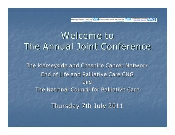 National End of Life Care Strategy - Merseyside & Cheshire Cancer ...