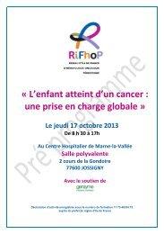 L'enfant atteint d'un cancer : une prise en charge globale» Au ...