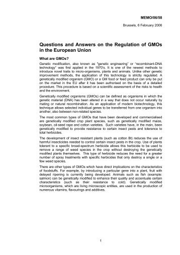 Questions and Answers on the Regulation of GMOs in the European ...