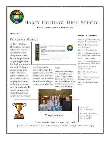 hchs newsletter march 2011 - Harry Collinge High School