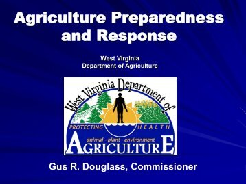 Agriculture Preparedness and Response - West Virginia Division of ...