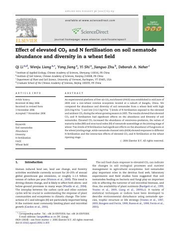 Effect of elevated CO2 and N fertilisation on soil nematode ...