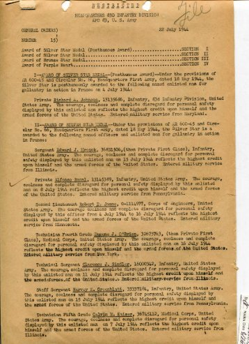 83rd Infantry Division General Orders #22, 22 July 1944