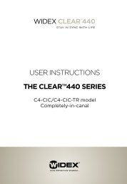 USER INSTRUCTIONS THE CLEAR™440 SERIES - Widex for ...