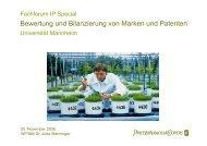 Bewertung und Bilanzierung von Marken und Patenten - IZG
