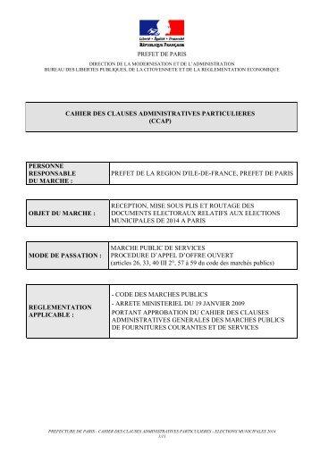 02 Municipales 2014 - CCAP PROJET-1 - Préfecture de Paris et d'Ile ...