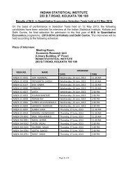 M.S. in Quantitative Economics - Indian Statistical Institute