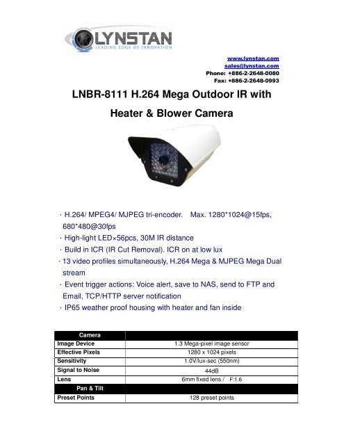 LNBR-8111 H 264 Mega Outdoor IR with Heater & Blower