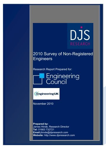2010 Survey of Non-Registered Engineers - Engineering Council