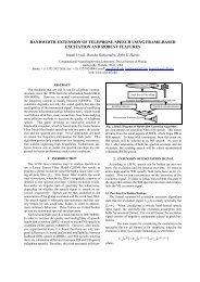 bandwidth extension of telephone speech using frame-based ...